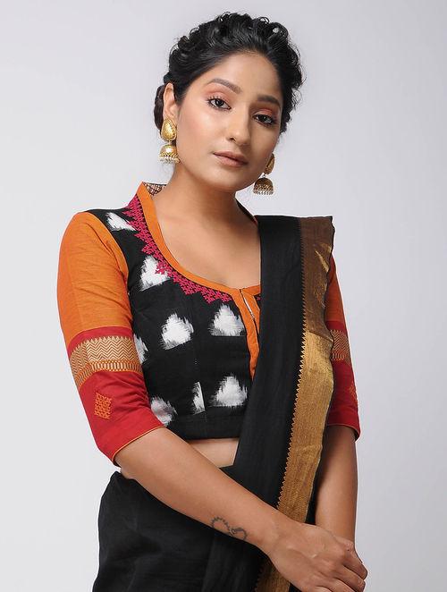 bf5fec9c062f76 Buy Black-Orange Block-printed and Ikat Mangalgiri Cotton Blouse ...