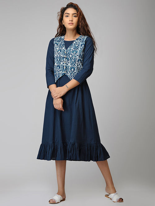 Buy Indigo Block-printed Cotton Dress with Jacket (Set of 2 ...