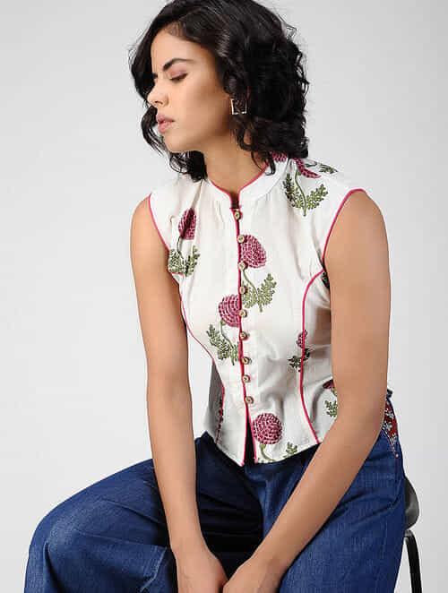 2f2aef8f3ef33 Buy White Block-printed Cotton Top Online at Jaypore.com