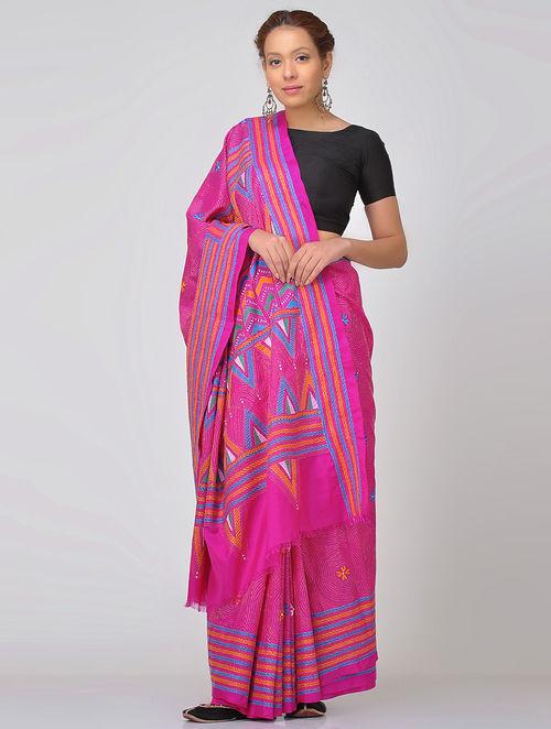 0ce33e6daa5 Buy Pink-Blue Kantha-embroidered Silk Saree Online at Jaypore.com