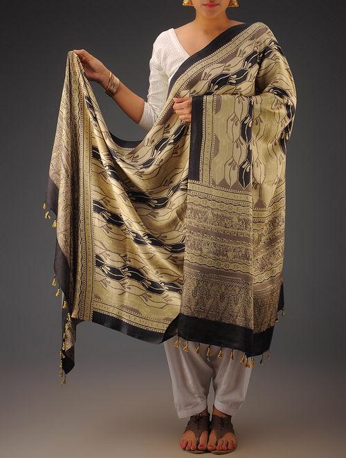 Beige-Black-Olive Gajji Silk Ajrakh Printed Dupatta By Jaypore