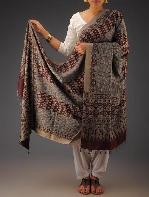 Maroon-Indigo Gajji Silk Ajrakh Printed Dupatta By Jaypore