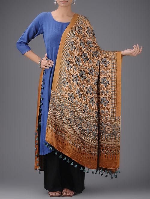 1a00c91a3ffa2 Buy Rust-Blue Ajrak printed Gajji Silk Dupatta by Jaypore Online at ...