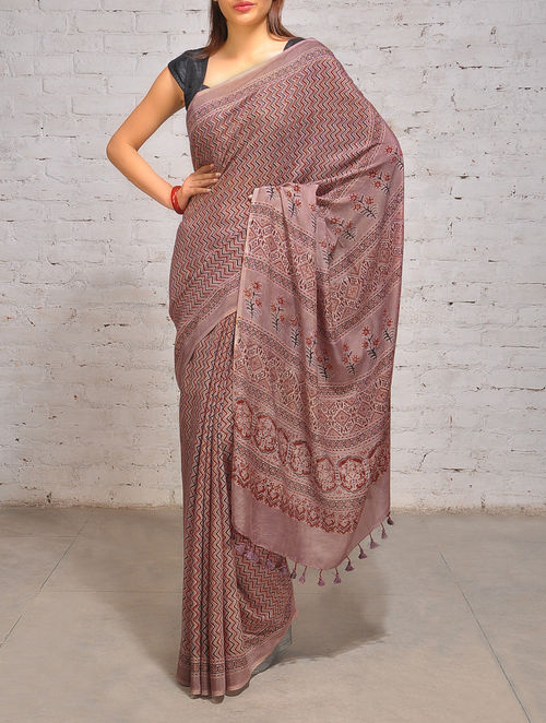 Buy Ajrakh Mulberry Silk Malai Cotton Saree Online At