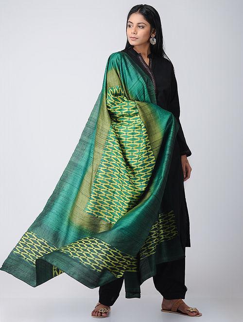12f59bb95b70f Buy Green-Yellow Block-printed Tussar-Silk Dupatta Online at ...