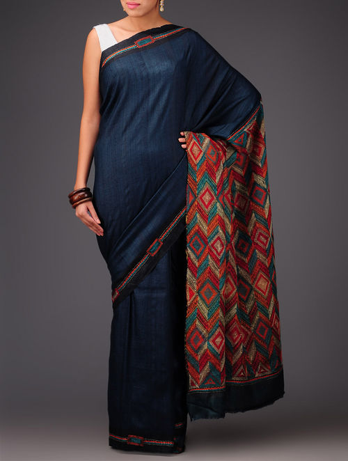 Buy Royal Blue Tussar Silk Kantha Embroidered Saree Online