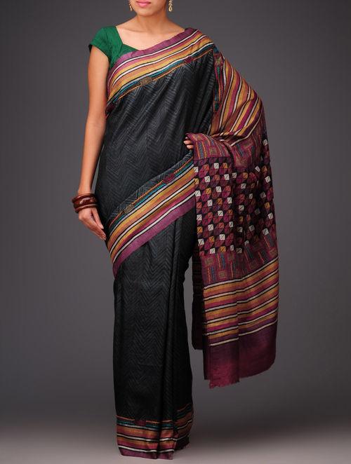 Buy Dark Grey Violet Tussar Silk Kantha Embroidered Saree