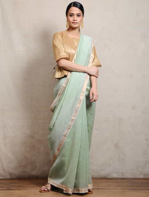5c97fea704f81 Buy Green Chunari Block-printed Silk Cotton Maheshwari Saree ...