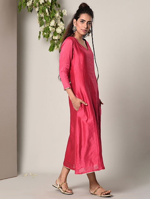 Buy Pink Chanderi Dress With Lace Detail Online At Jaypore