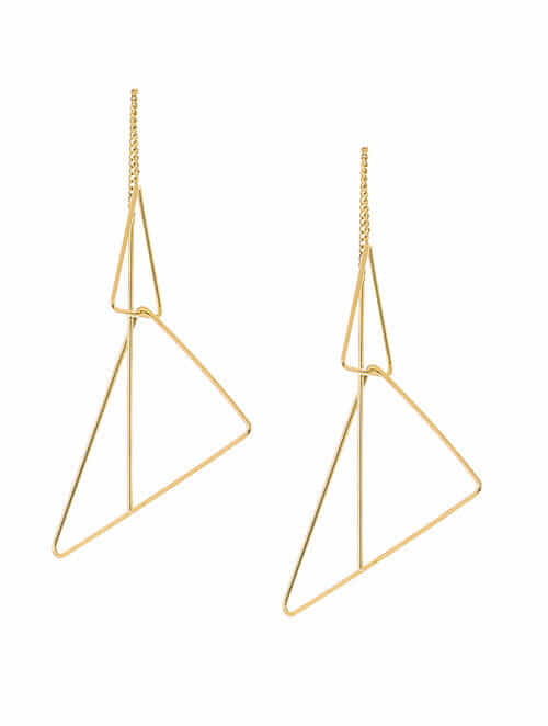 Clic Gold Plated Needle Thread Earrings
