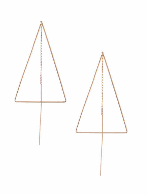 Clic Rose Gold Plated Needle Thread Earrings