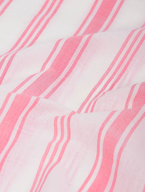 White-Pink Striped Khadi-Cotton Fabric