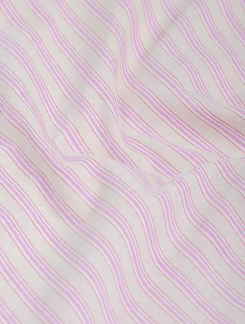 Ivory-Pink Striped Khadi-Cotton Fabric