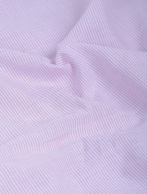 Lavender-White Striped Khadi-Cotton Fabric