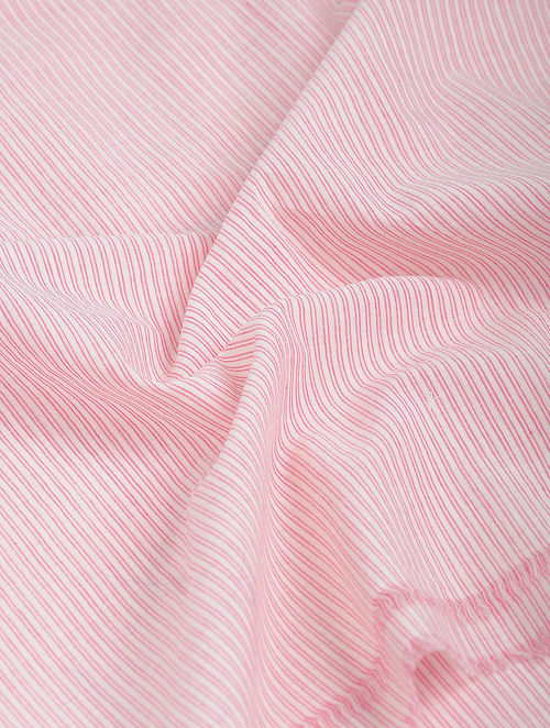 Pink-White Striped Khadi-Cotton Fabric