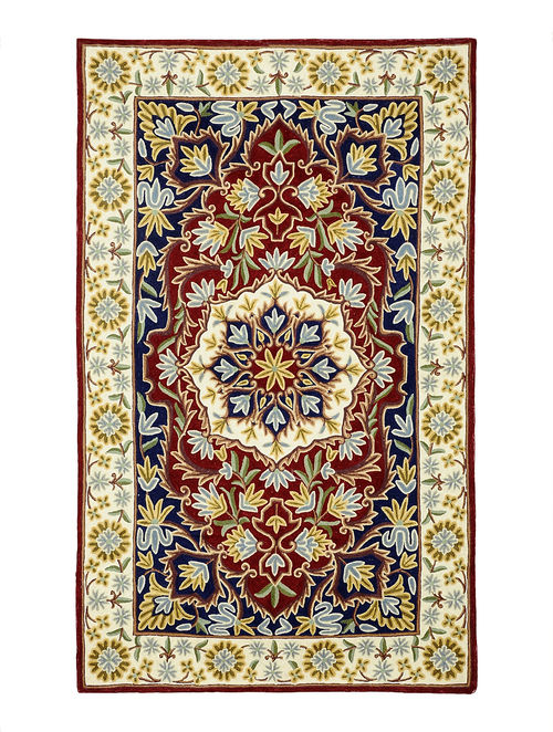 Buy Multi Color Wool Chain Stitch Embroidered Rug 61in X