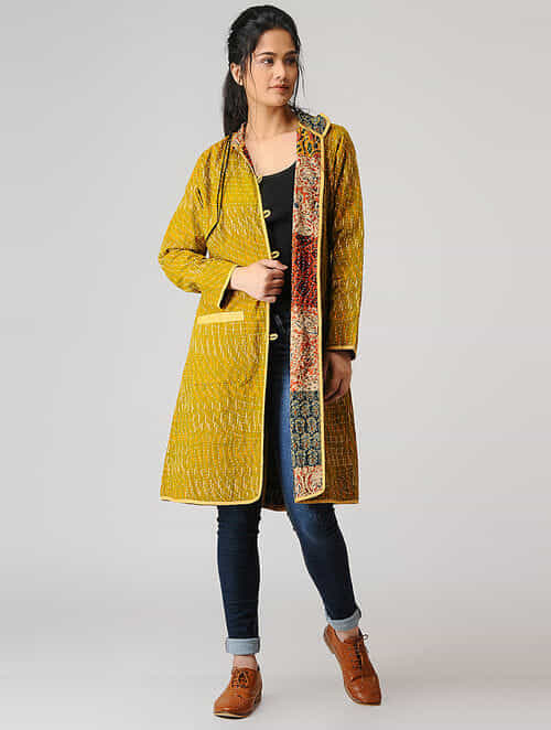 Buy mustard ikat cotton jacket with kantha embroidery