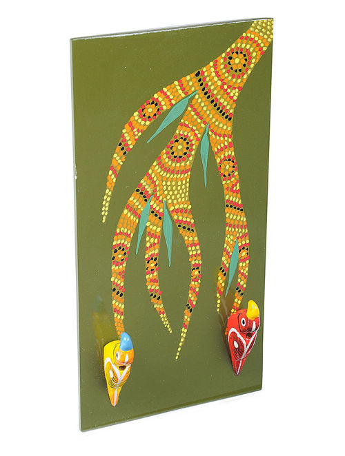Buy Green Key Holder with Hand-painted Gond Artwork (L:5 ...