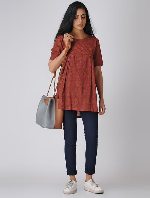 c91cf8e91e6 Buy Maroon Printed Cotton Top with Gathers Online at Jaypore.com