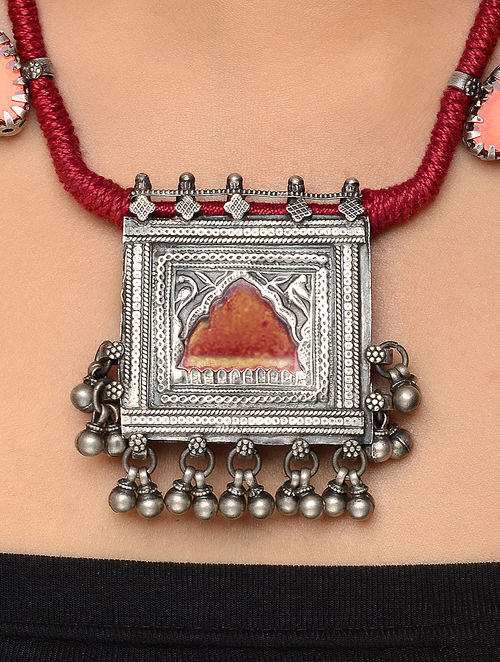 jaypore buy online vintage precious com silver semi necklace red thread at stones