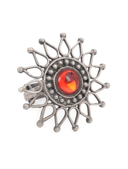 Buy Red Tribal Adjustable Silver Ring Online At Jaypore Com