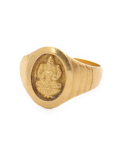 Buy Gold Ring with Goddess Lakshmi Motif Ring Size 6 5 line