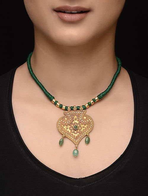 Buy emerald gold thread necklace online at jaypore emerald gold thread necklace aloadofball Image collections