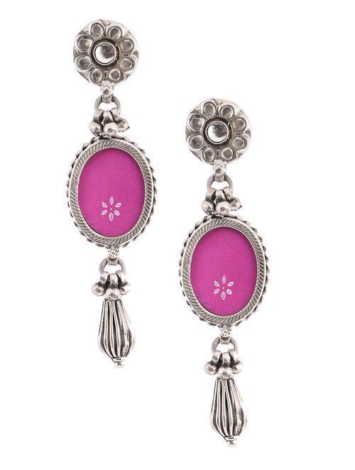 Pink Gl Tribal Silver Earrings