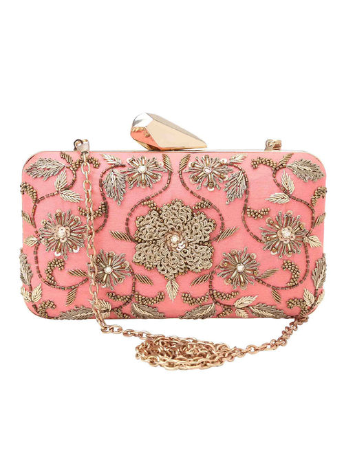 66c443e4fd9 Buy Coral Hand-Embroidered Raw Silk Clutch Online at Jaypore.com