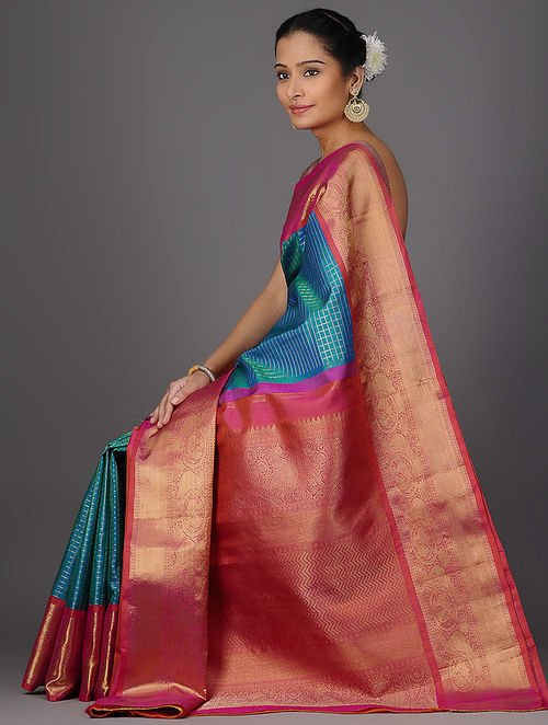 Buy Blue Pink Checkered Kanjivaram Brocade Silk Saree