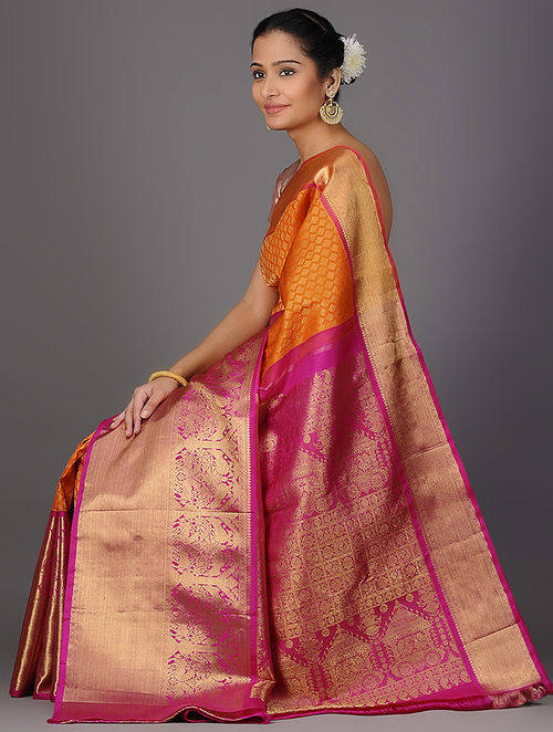 Buy Orange Pink Kanjivaram Brocade Silk Saree Online At