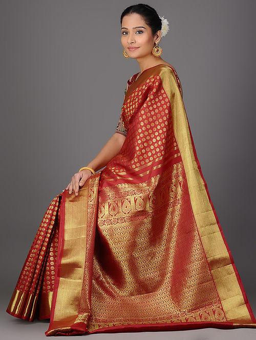 Buy Red Kanjivaram Brocade Silk Saree Online At Jaypore Com