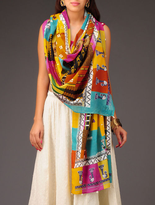 Buy Multi Color Panchi Patchwork Cotton Dupatta Online At