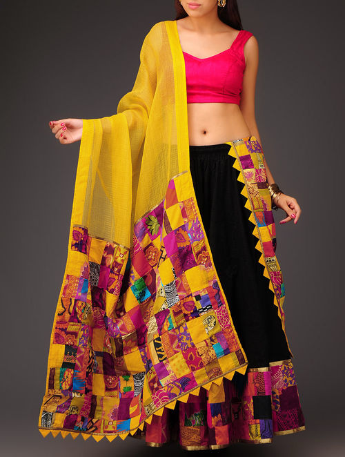 Buy Yellow Patchwork On Kota Cotton Dupatta Online At