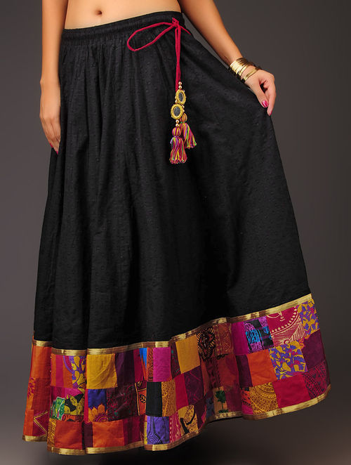 Buy Black With Multi Color Border Patchwork Swiss Dot