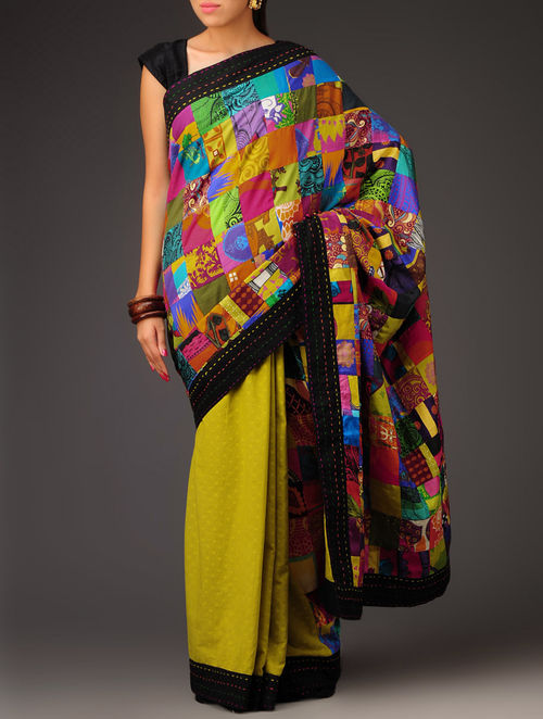 Buy Olive Swiss Dot Patchwork Cotton Saree Online At