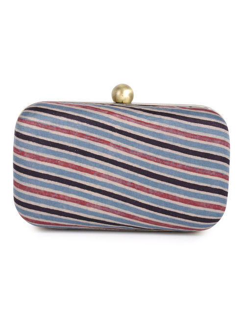 Blue - Black Stripes Gajji Silk Small Clutch - By Jaypore