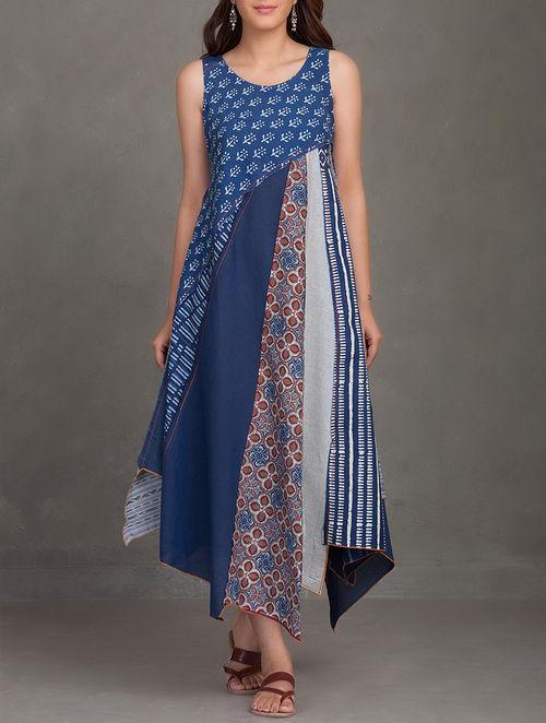 Buy Indigo Block Printed Thread Embroidered Upcycled