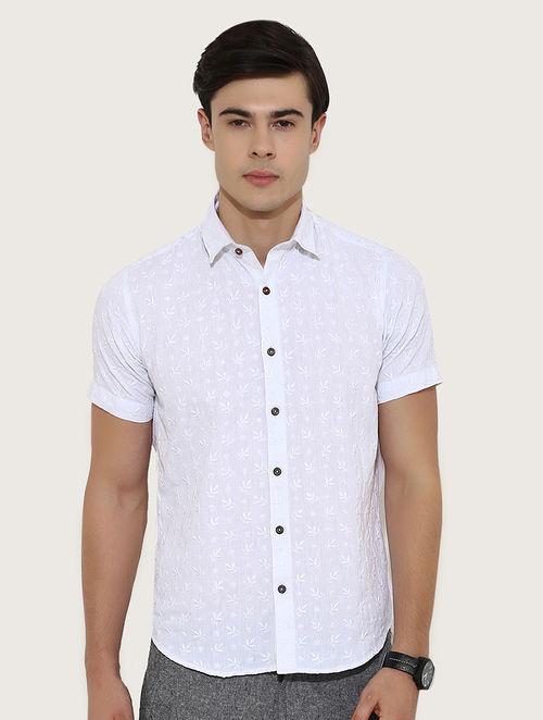 Off White Half Sleeve Khadi Shirt With Chikankari