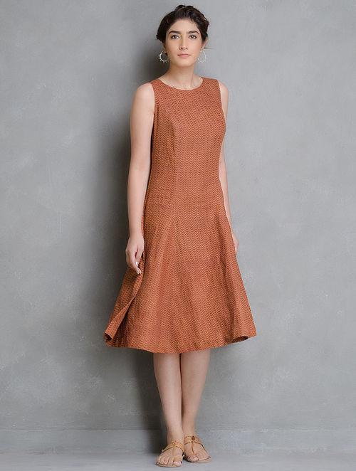 Buy Orange Rust Block Printed Long Linen Dress Online at  : urbapj000111613 12 from www.jaypore.com size 500 x 662 jpeg 42kB