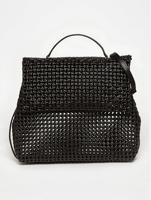 Buy Black Recycled Plastic Weave Sling Bag Online at Jaypore.com