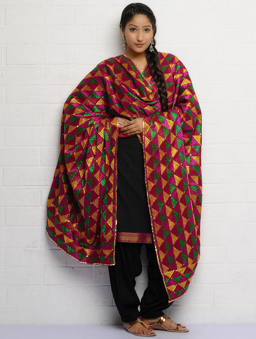 Buy Red Green Yellow Cotton Phulkari Dupatta Online At