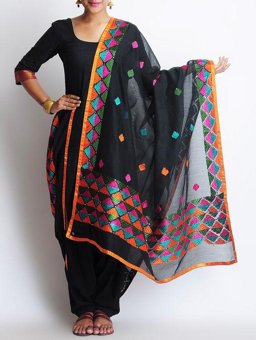 Buy Black Multi Color Chanderi Phulkari Dupatta Online At