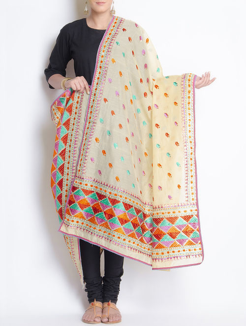 Buy Off White Multi Color Chanderi Phulkari Dupatta Online