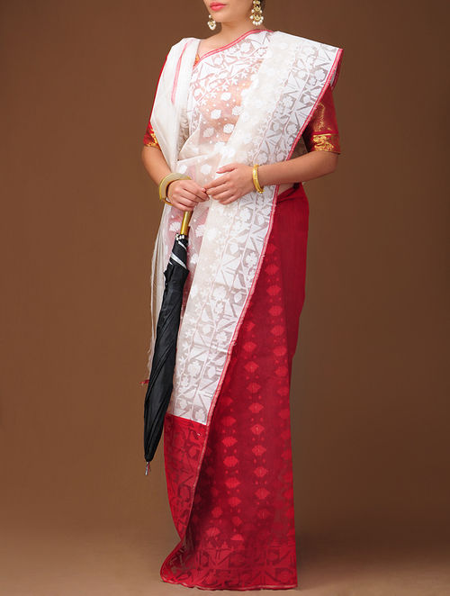 Buy White Red Dhakai Jamdani Cotton Saree Online At