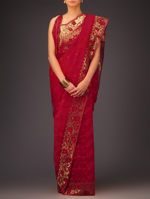 Buy Red Golden Cotton Jamdani Saree Online At Jaypore Com