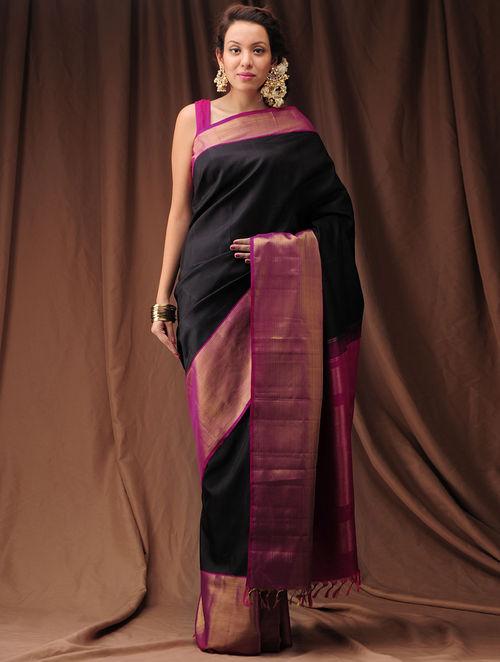 Buy Dark Pink Black Zari Kanjivaram Silk Saree Online at  : vaksaj000010368 1 from www.jaypore.com size 500 x 662 jpeg 45kB