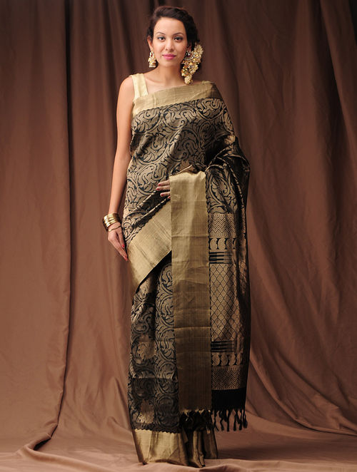 Buy Black Zari Kanjivaram Silk Saree Online At Jaypore Com