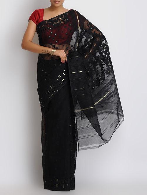 Buy Black Cotton Zari Dhakai Jamdani Saree Online At