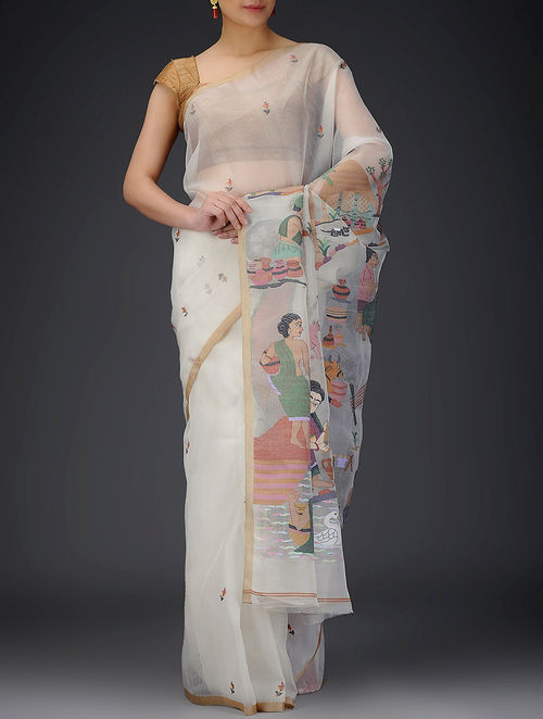 Buy White Multicolor Muslin Saree Online At Jaypore Com